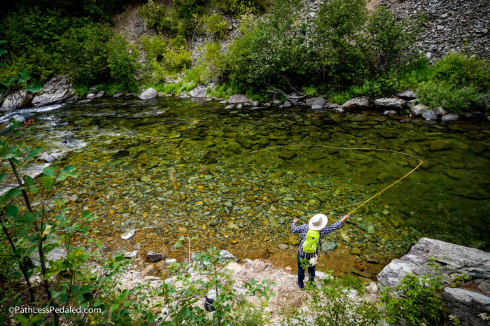 man fishing on the north fork of the st. joe river