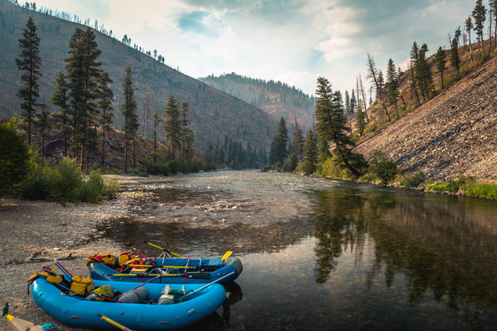 raft sits along the banks of the middle fork of the salmon river
