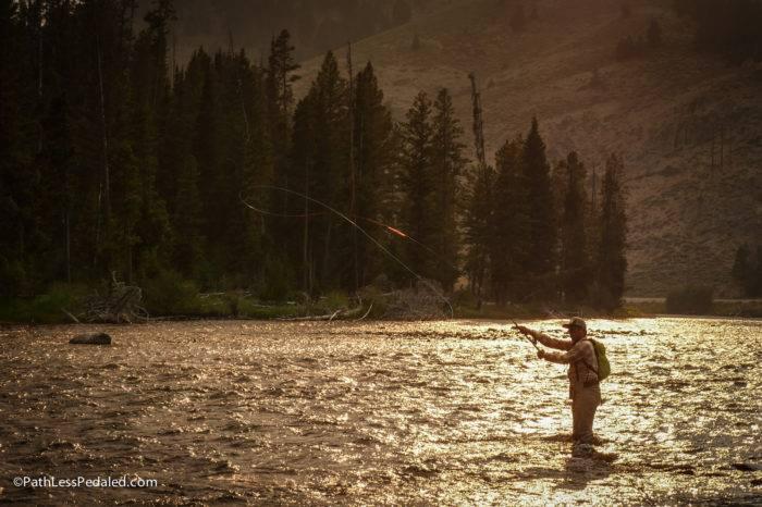 flyfisherman at sunset