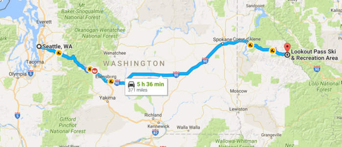 Map from Seattle to North Idaho.