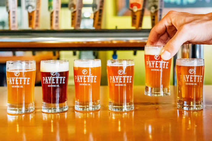 small flight of beers from payette brewing