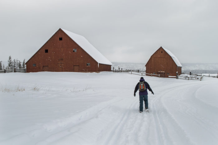 person snowshoeing near old buildings