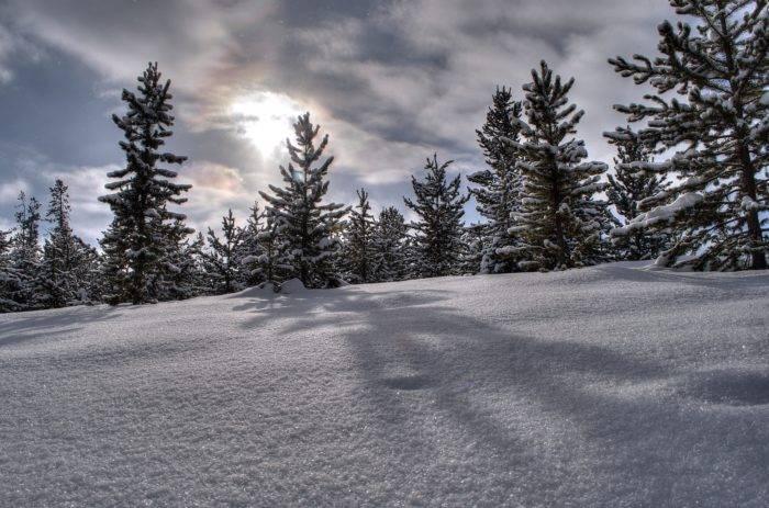sun reflecting off snow