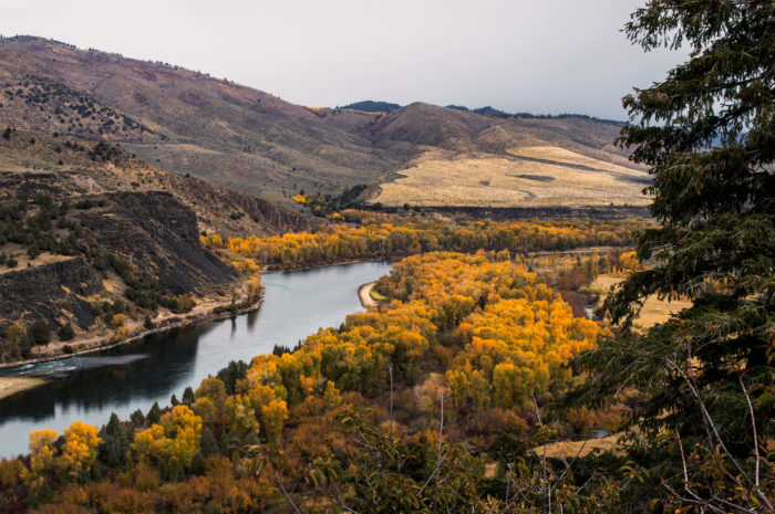 scenic river overlook with fall colors