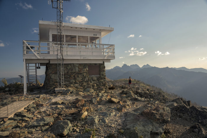 fire lookout overlooking mountain range
