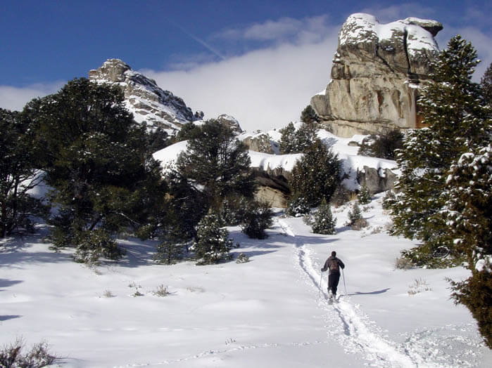 Exploring City of the Rocks in the winter. Photo Credit: Visit South Idaho