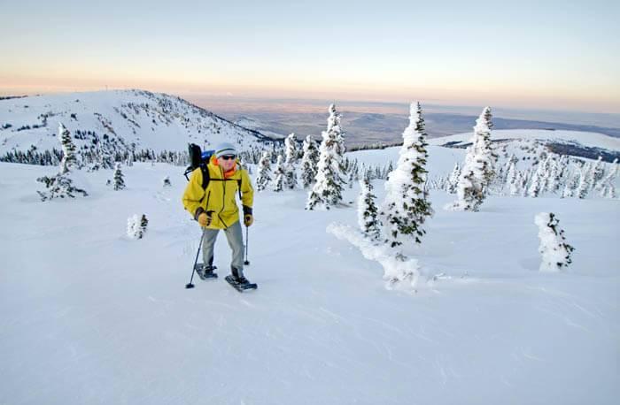 Snowshoeing near Pomerelle Mountain Resort. Photo Credit: Ski Idaho