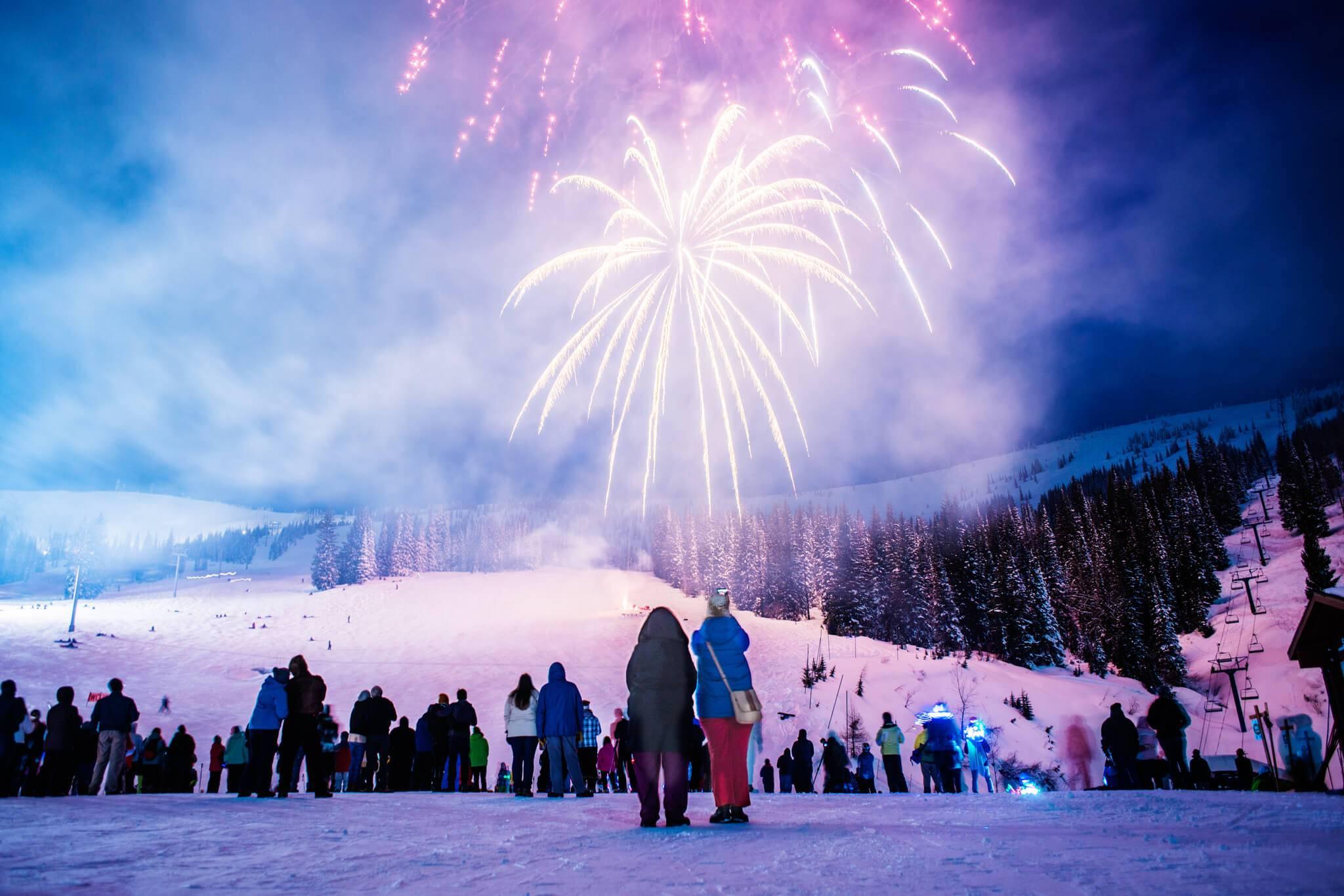fireworks on snowy schweitzer mountain