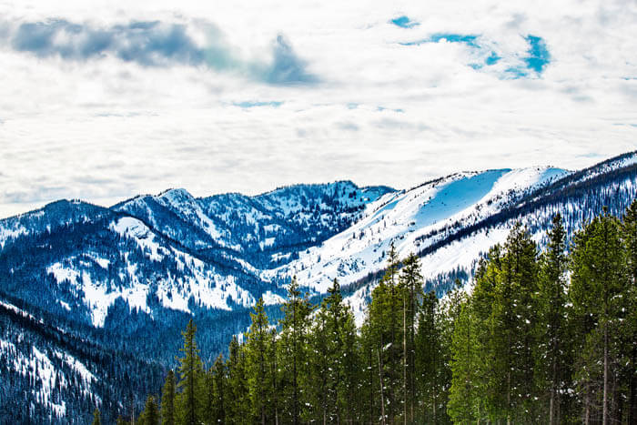 snowy mountain valley