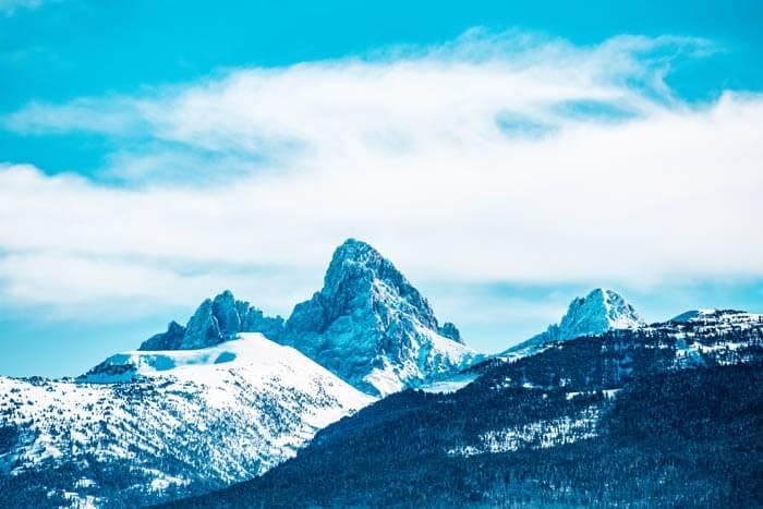 Teton Mountains in snow.
