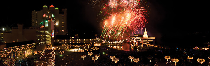 Fireworks exploding over coeur d'alene resort at night