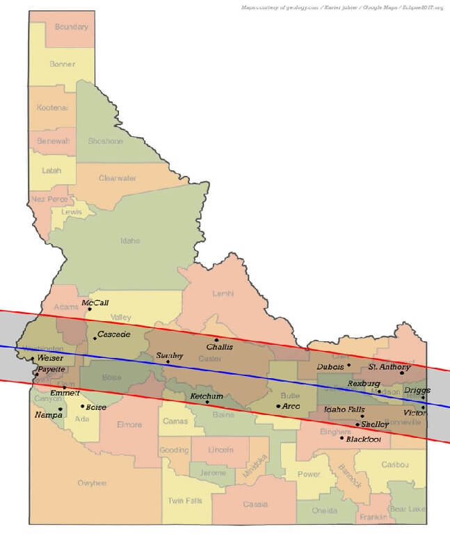 Map of Idaho showing the band of totality stretching across the state from East to West.