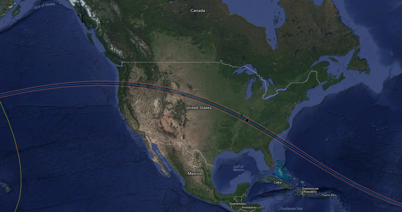 Google Map showing the path of totality for the August 21, 2017 eclipse over America