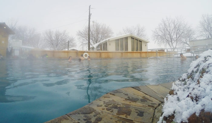steam rising from a commercial hot pool