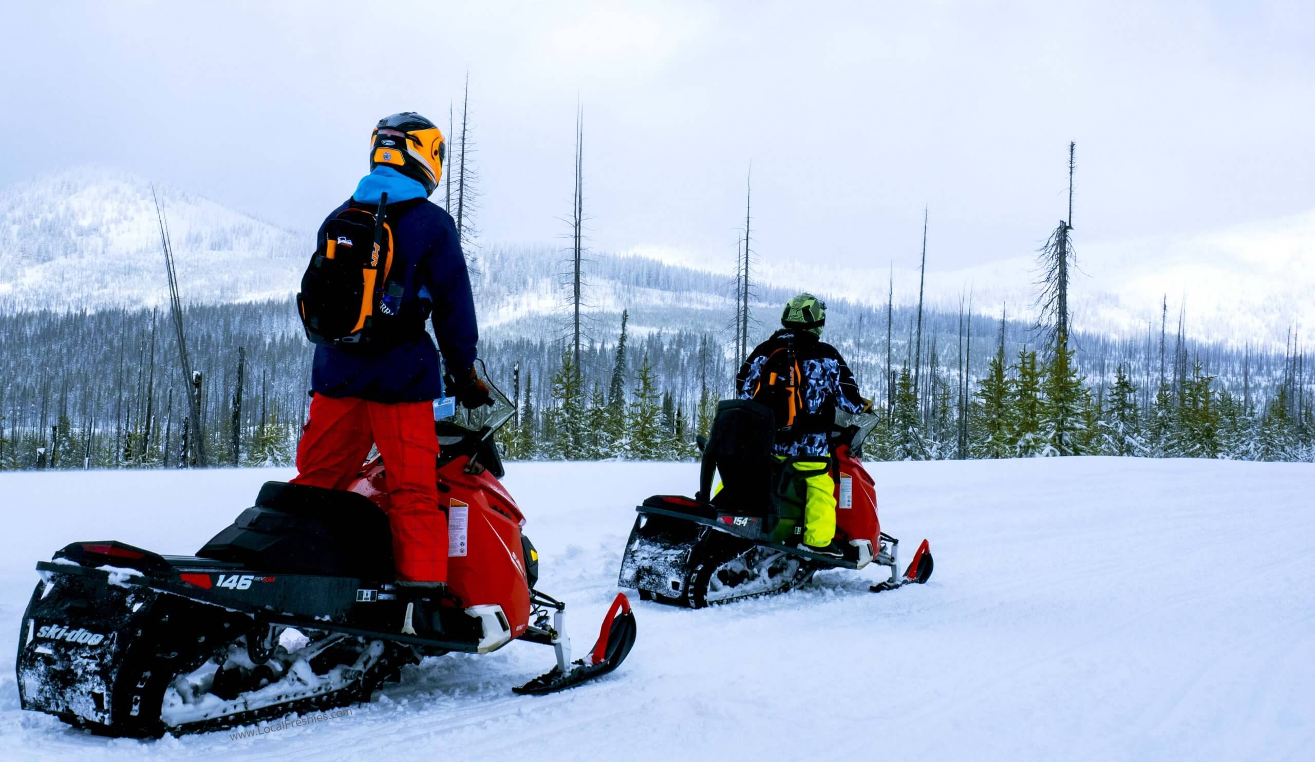 two snowmobilers on snowy mountain