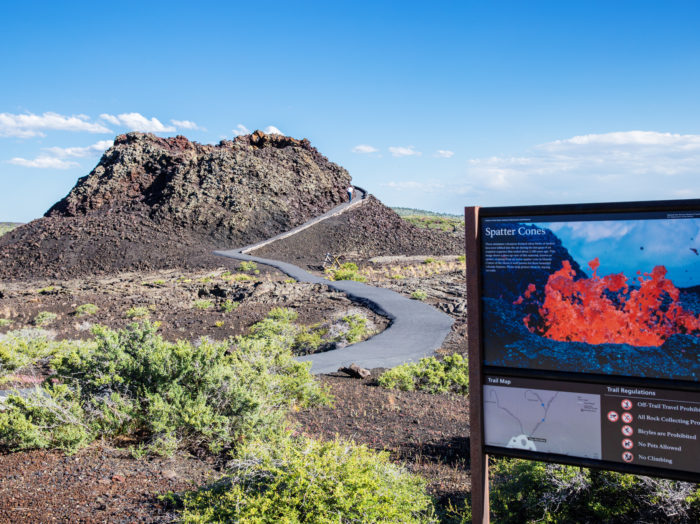Hiking, Craters of the Moon National Monument and Preserve, near Arco. Photo Credit: Idaho Tourism.