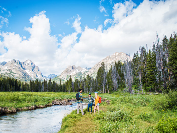 Hiking, Fishhook Creek Trail, Near Redfish Lake, Stanley. Photo Credit: Idaho Tourism.