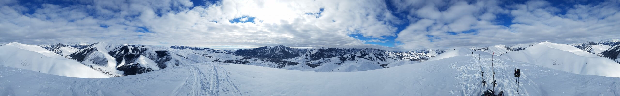 panoramic shot of snowy mountains