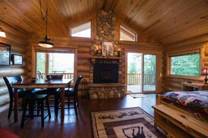 interior of a rustic guestroom at Western Pleasure Guest Ranch