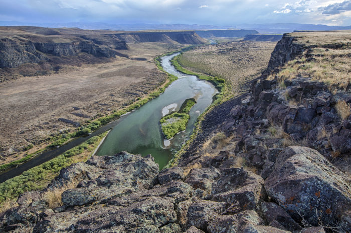 large canyon with river