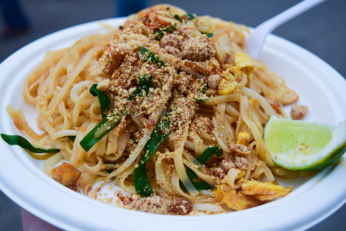 pad thai sprinkled with crushed peanuts