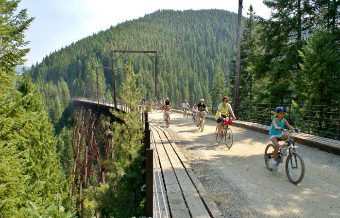 bike rides on old train trestle turned into bike path