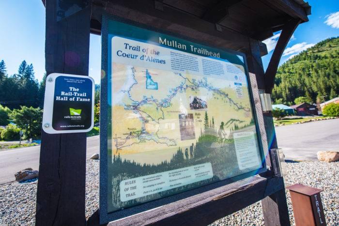 trailhead sign for rail to trail path
