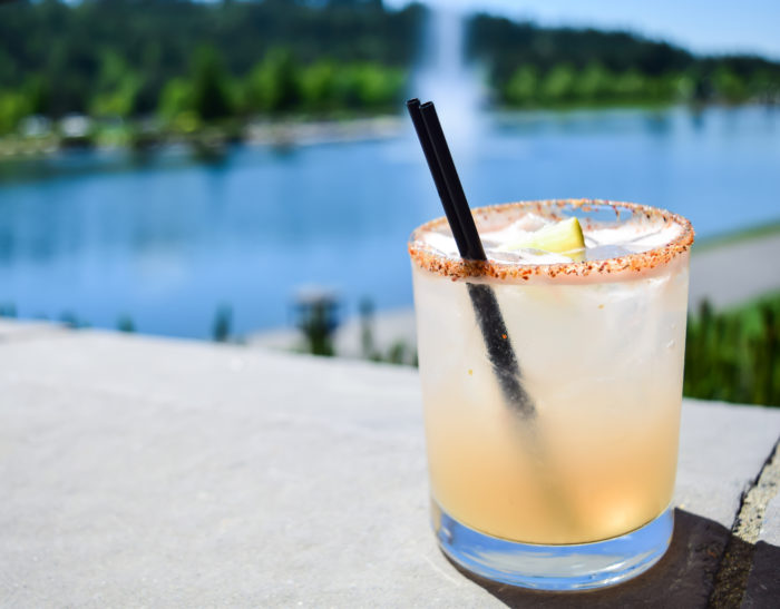 cocktail glass by lake
