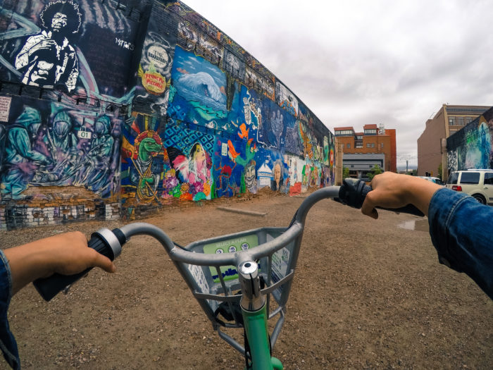 bike in a painted alley