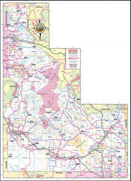 Image of Idaho Highway State Map