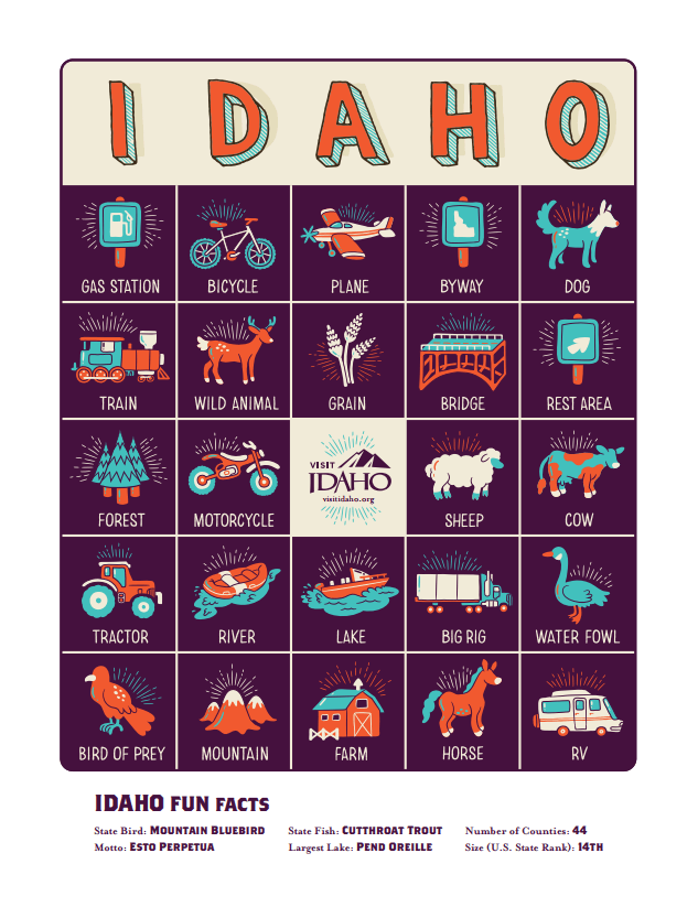 Image of Idaho Bingo Card with local animals, plants, and places.