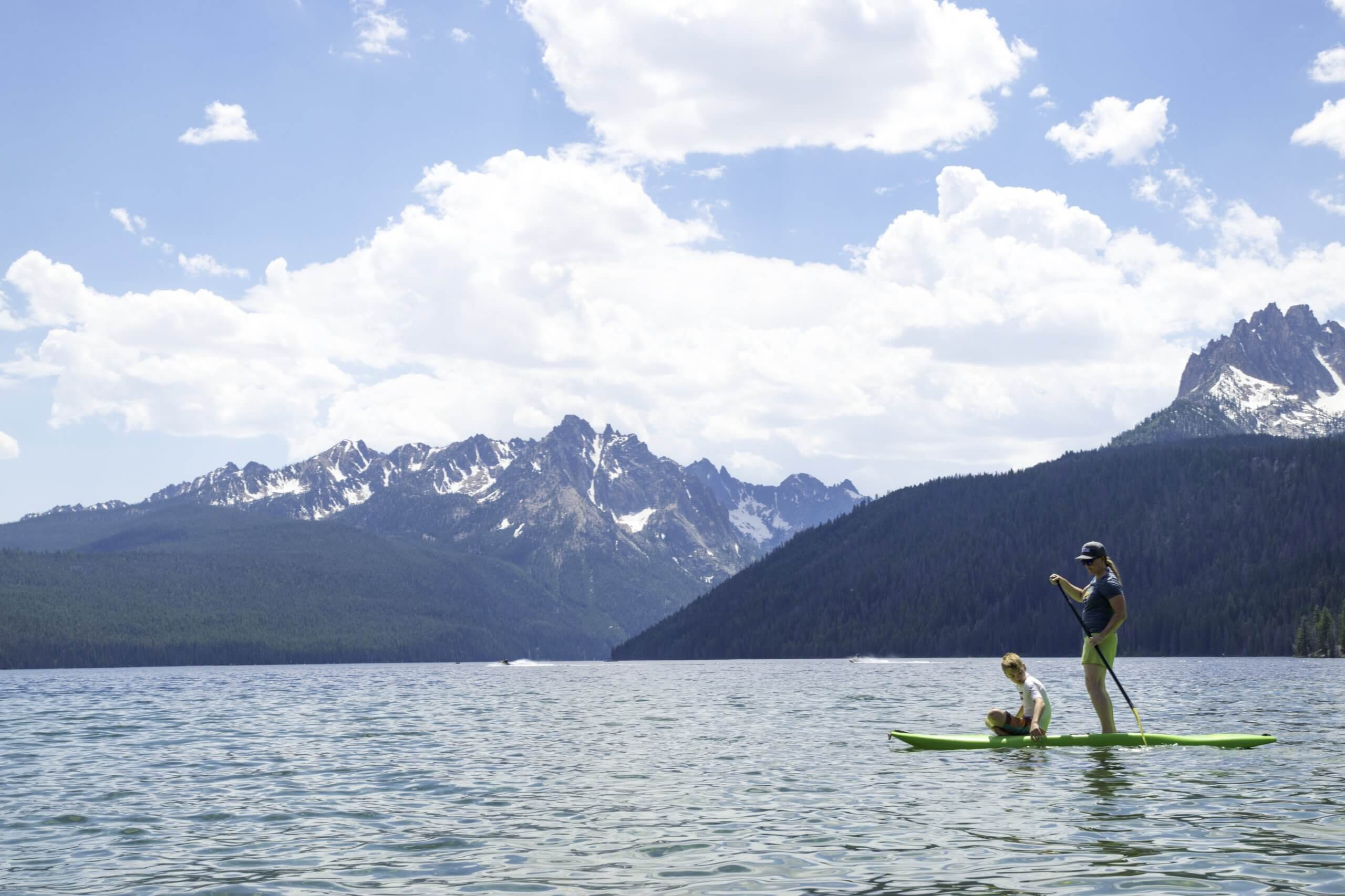 You can see why the Sawtooth mountains make Redfish Lake the ideal place to paddle board.