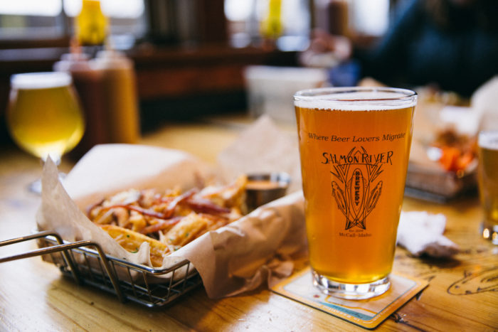 A beer and fries at Salmon River Brewery.
