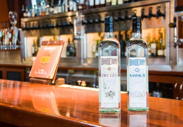 liquor bottles on a bar
