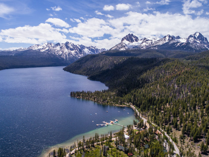 Aerial view of Redfish Lake. Photo Credit: Idaho Tourism.