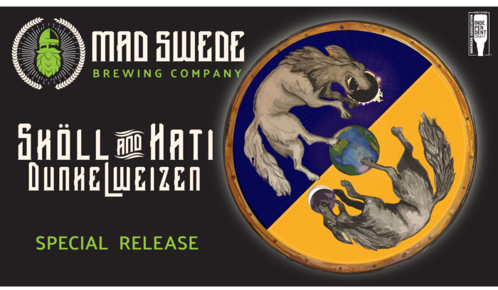 Graphic Beer Label with two wolves chasing each other around the moon.