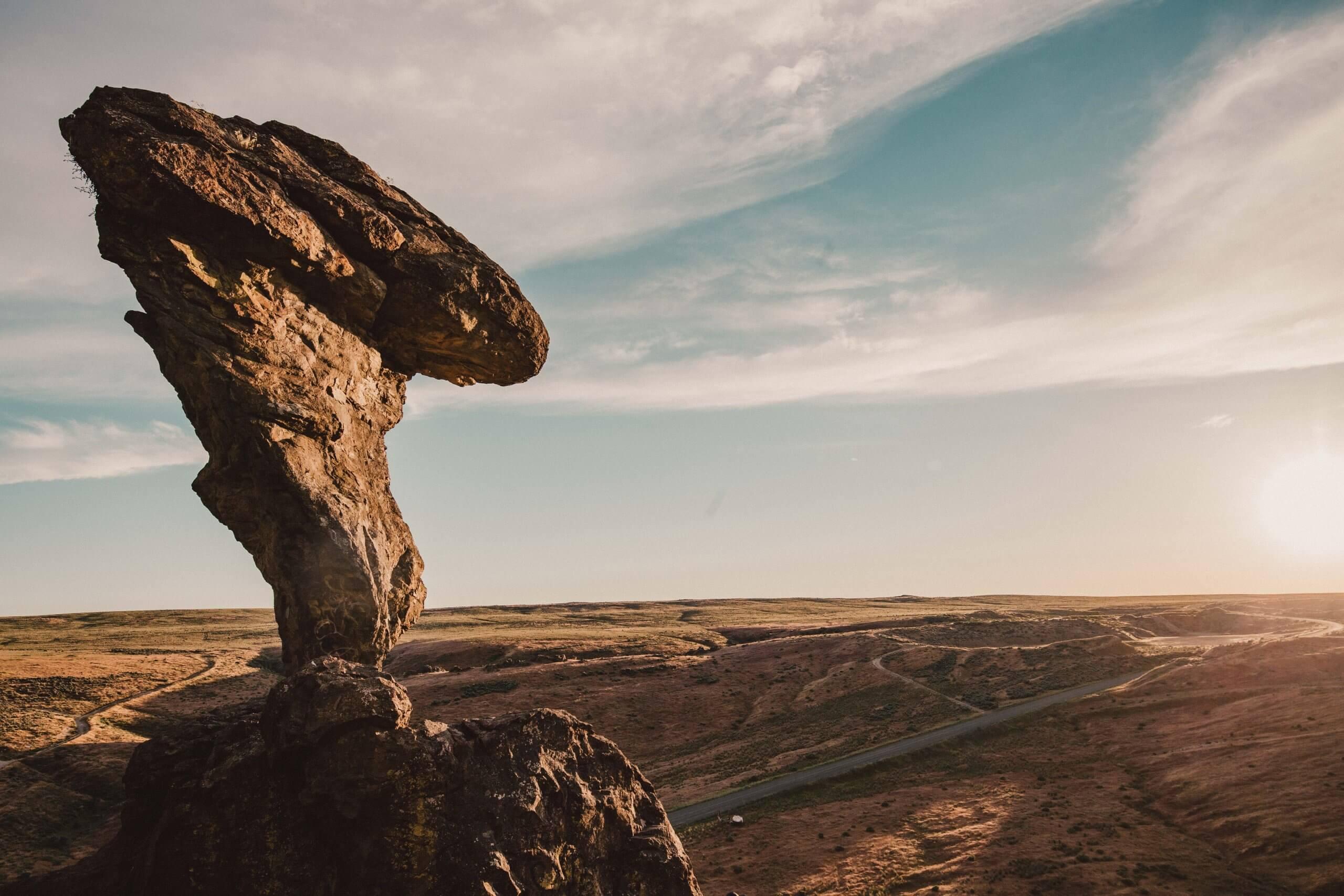 A view of Balanced Rock at sunset.