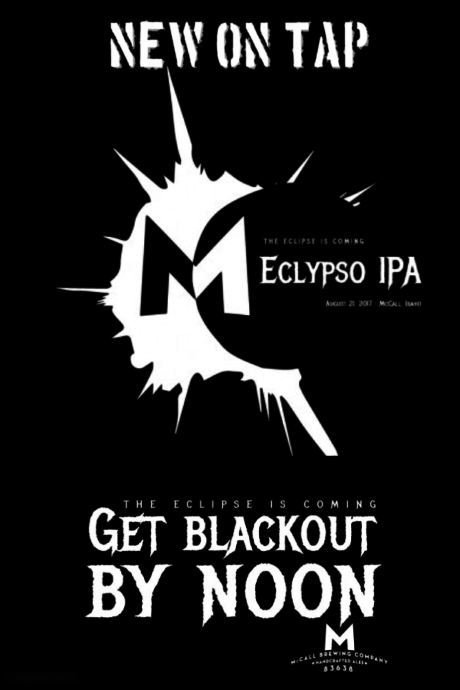 """Beer graphic illustration with eclipse image and the words """"The Eclipse is Coming, Eclypso IPA"""""""