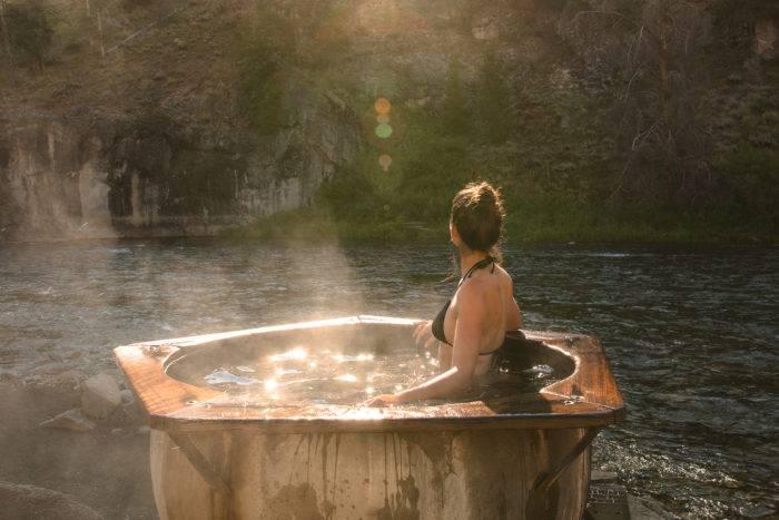 woman in hot springs