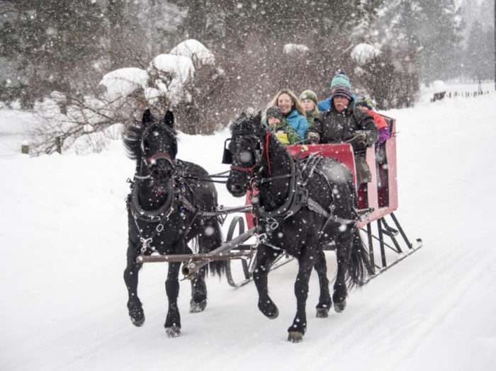 Enjoy the winter weather on a sleigh ride. Photo Credit: Idaho Tourism
