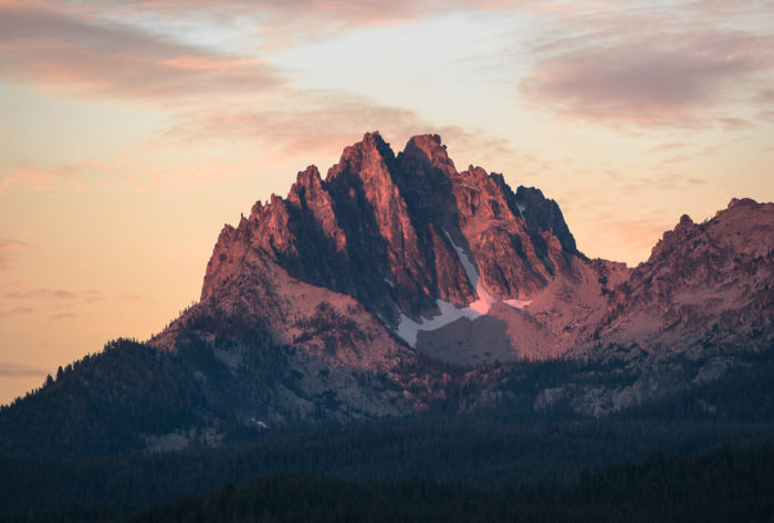 rugged mountains at sunrise