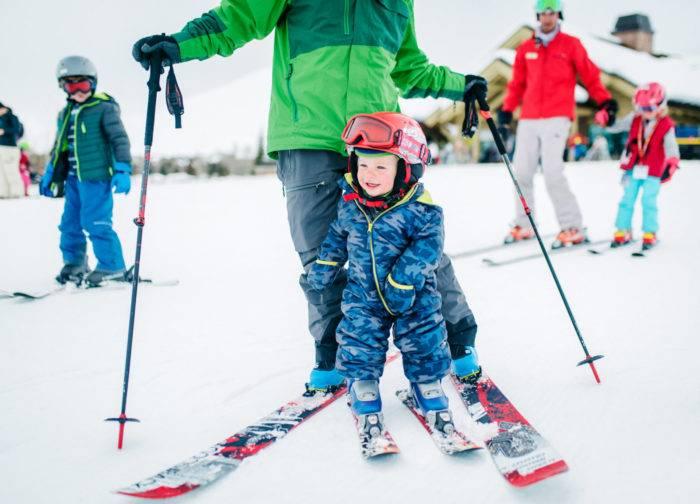 Skiing at Dollar Mountain in Sun Valley.