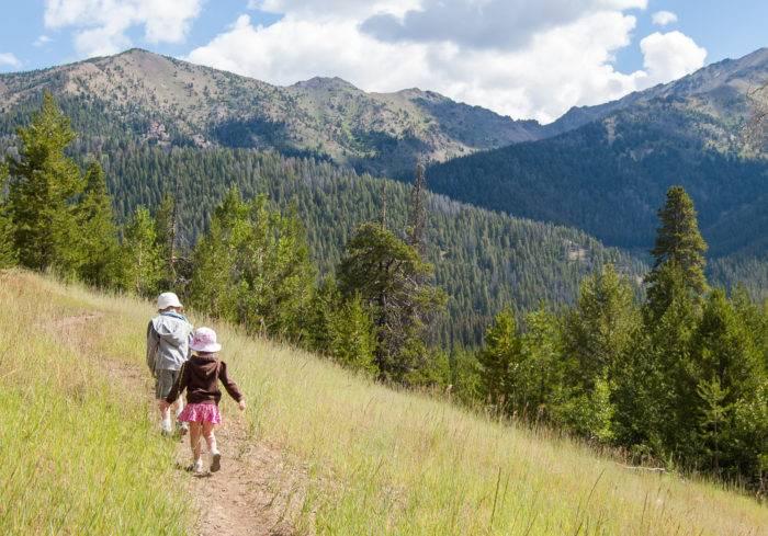 little kids hiking