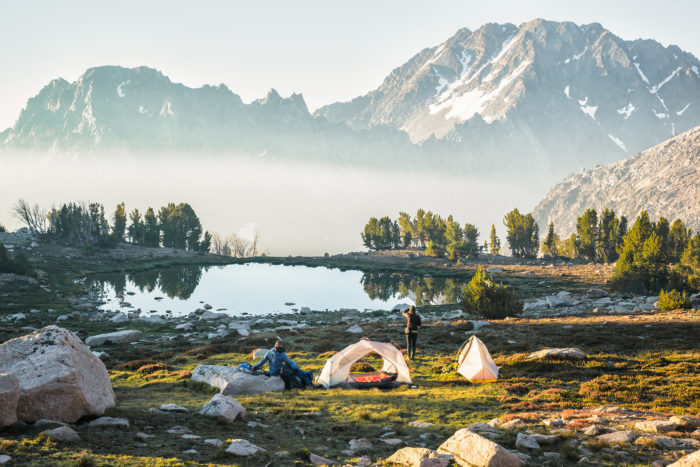 tent near mountain lake