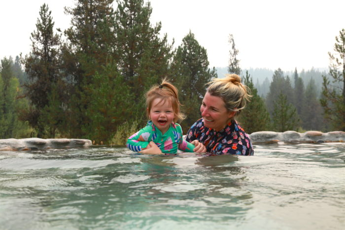 mom and daughter in hot spring