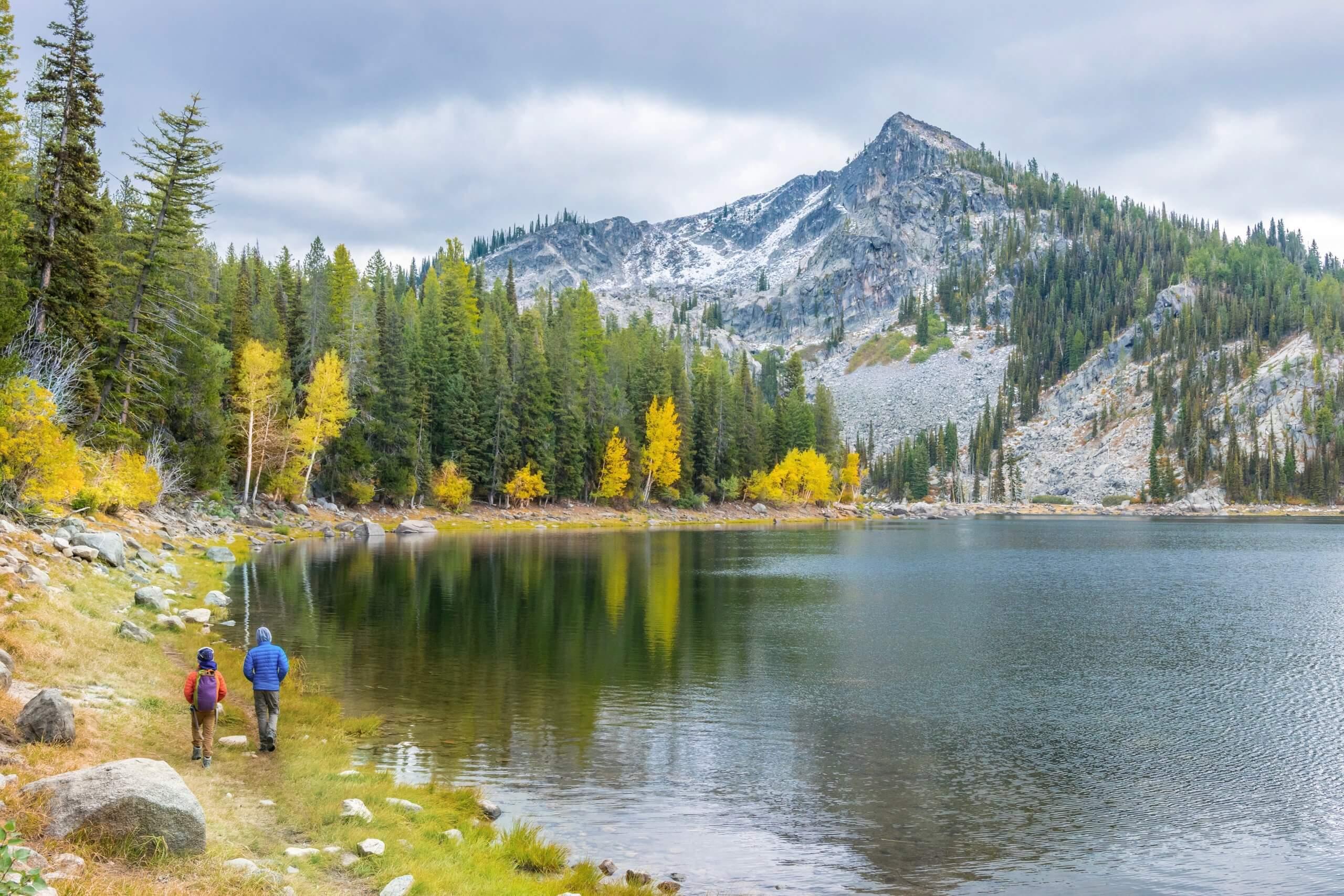 hiking by a lake