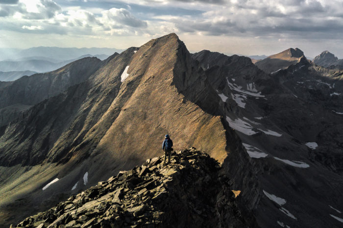 jagged mountain peak.