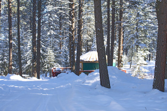 yurt in the snow