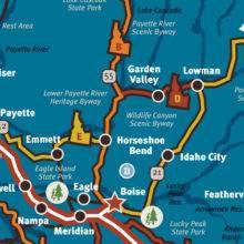 2018 Idaho Travel Guide - Southwest Map