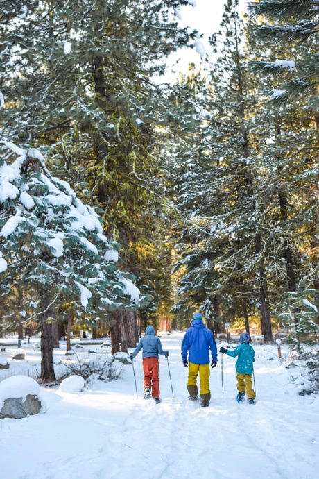 family snowshoeing in forest